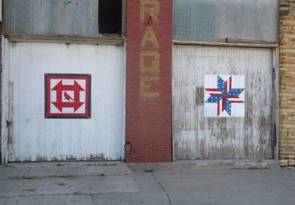 Painted barn quilts are a new 2015 addition to Barnard's Main Street. Photo credit: Barb Rathbun.