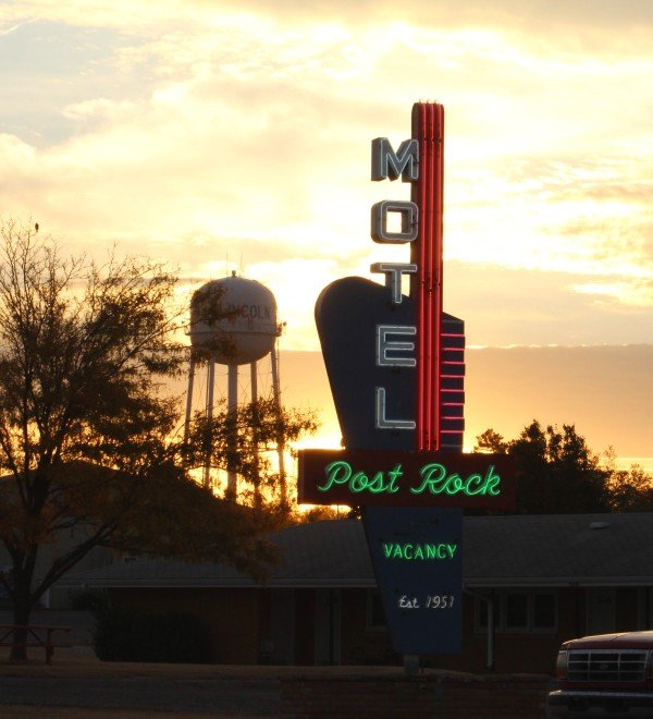 The neon lights of the Post Rock Motel shine bright once again after its recent restoration. Photo credit: Becky Rathbun